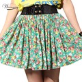 Solid Colorful Floweral Spring Summer Fashion Skirt Floral Pleated New Green Autumn Mini Women Skirts wholesale SK-026