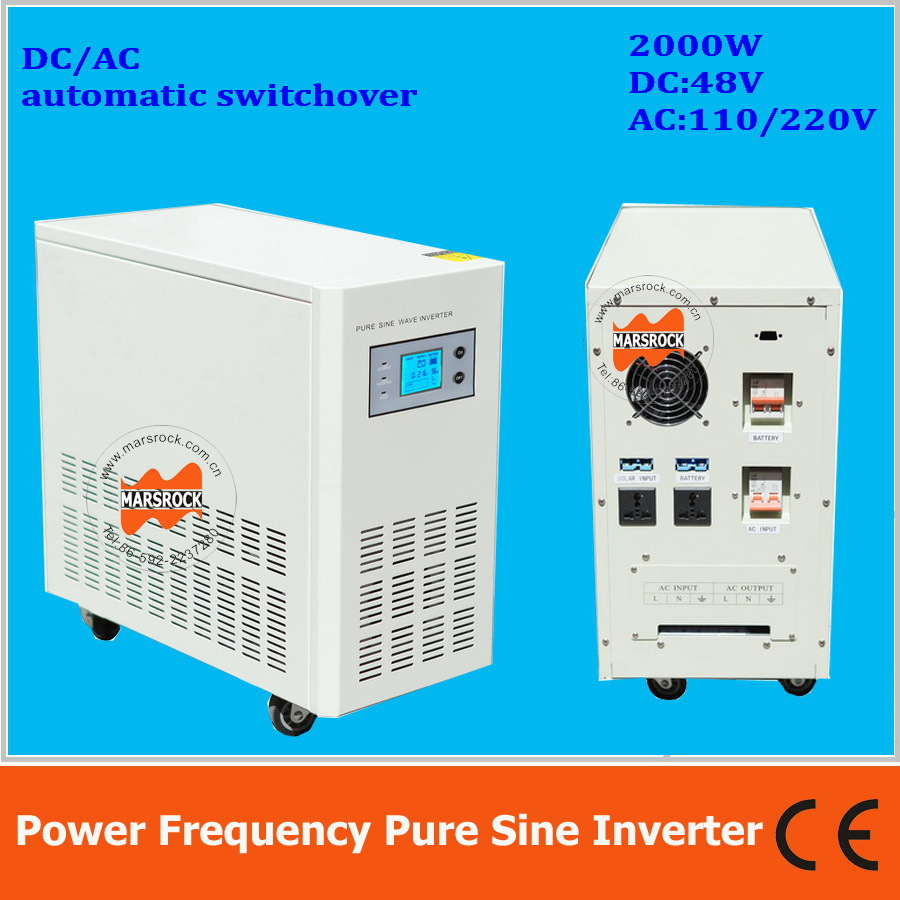 купить Power frequency 2000W pure sine wave solar inverter with charger DC48V to AC110V220V LCD AC by Pass AVR по цене 27524.7 рублей