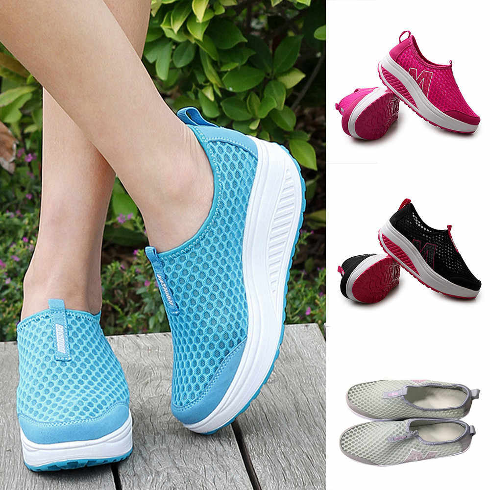 Chaussures femmes maille chaussures plates baskets plate-forme chaussures femmes mocassins respirant Air maille Swing compensées chaussure respirant chaussures plates # A35
