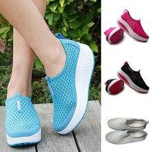 Zapatos de mujer, zapatos planos de malla, zapatillas, zapatos de plataforma, mocasines de mujer, zapatos de cuña oscilantes transpirables de malla de aire, zapatos planos transpirables # A40