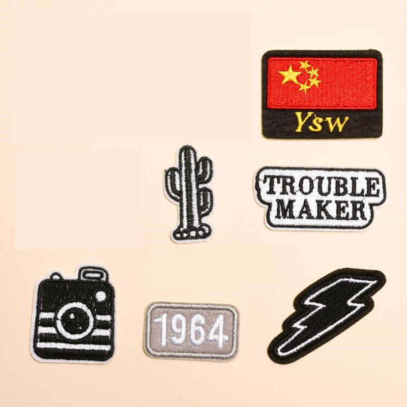 Black White Camera Repair Badge Patch Embroidered Patches For Clothing Iron On For Close Shoes Bags Badges Embroidery DIY