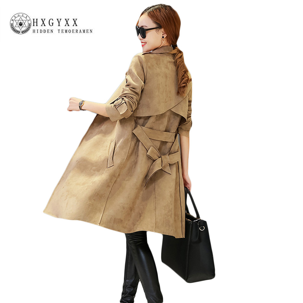New Fashion Elegant Autumn Long Coats Suede   Trench   Coat 2019 Women Pure Color Brief Overcoat with Belt Slim Windbreaker Ok067