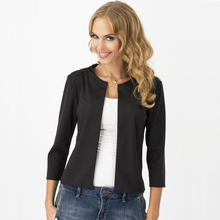 Women Solid No-Breasted Slim Cardigans Blazers No-Collar Casual Suit Womens Blazers Jacket