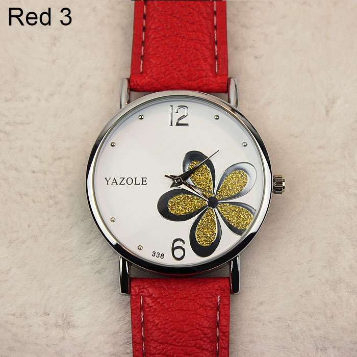 Yazole Watches Women 2019 Fashion Leather Strap Flower Female Clock Ladies Quartz Wrist Watch Montre Femme Relogio Feminino