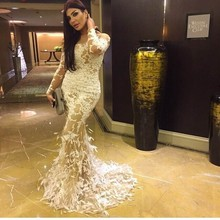 ailisiman Lace appliques long sleeves dresses
