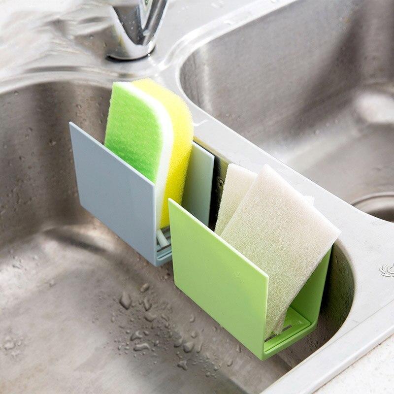 Kitchen Sink Corner Storage Rack Sponge Holder Wall Mounted Dishes drip rack