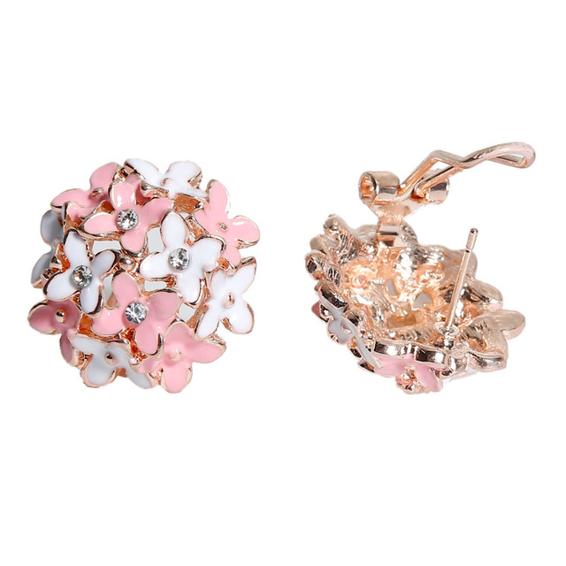 Doreen Box New Korean Four Leaf Flower Gold Color Crystal Fl Earrings Boho Style Woman