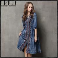 New Fashion 2017 Vintage Denim Dress Women Ethnic Style Embroidery Long Dress Women Girls Retro Brand