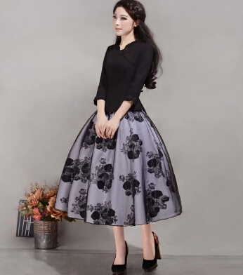 Aliexpress.com : Buy New Vintage Long Floral Puffy Skirt from ...