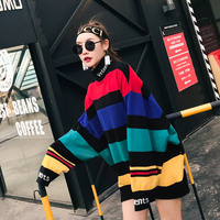 TREND Setter 2018 Winter Rainbow Knitting Sweater Women Loose Casual Pullovers Long Sleeve Letter Pattern On Collar