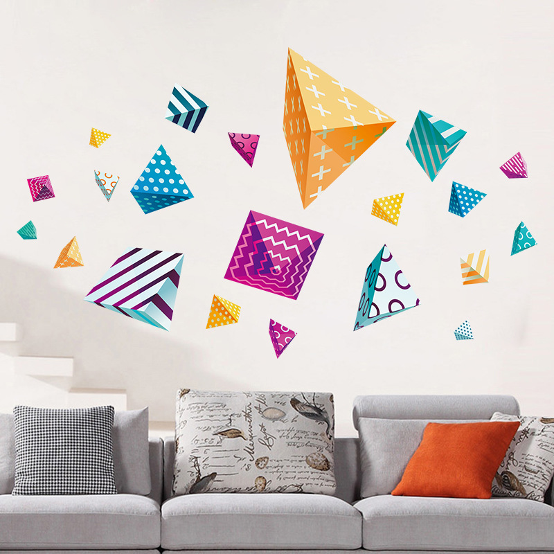 Diamond Shaped Wall Sticker Refrigerator Stickers For Living RoomThree dimensional Colored Three corne Home Decor 60 90CM in Wall Stickers from Home Garden