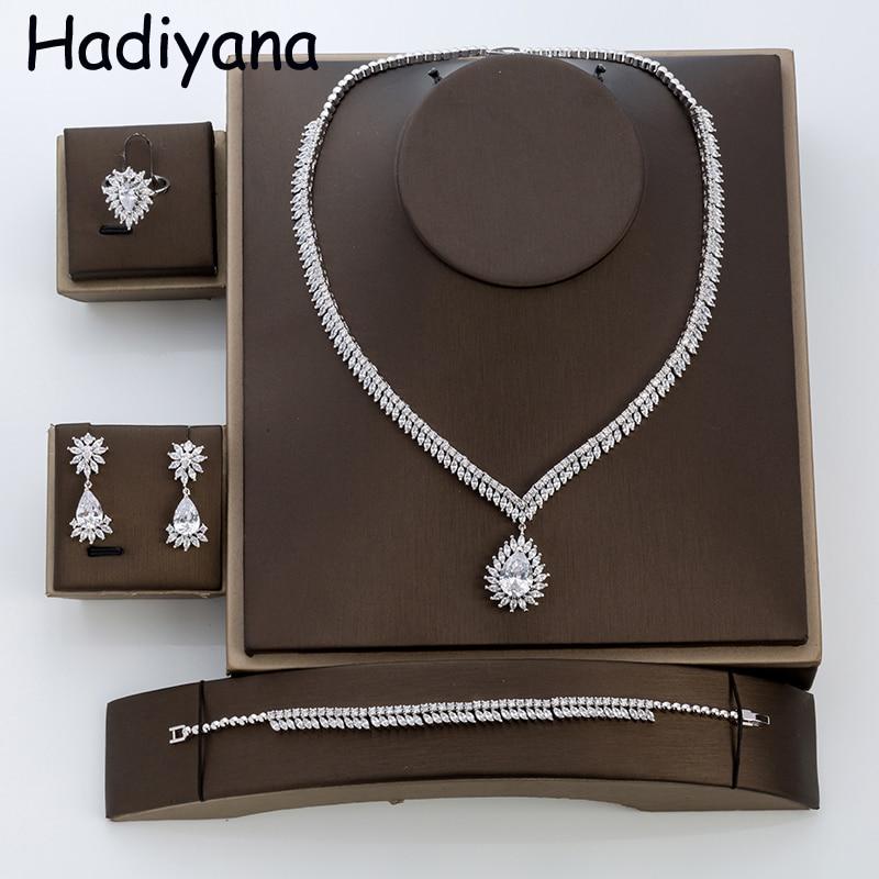 Hadiyana belle femmes déclaration marque ensemble de bijoux pour la fête de mariage attrayant ovale pendentif ensembles de bijoux fabricant TZ8001