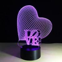 Love Heart-3D Optical Illusion Lampa LED Romantic Wedding Decor Walentynki Prezent Miłośników