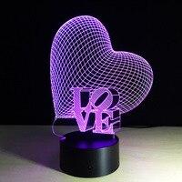 Tình yêu Trái Tim-3D Illusion Quang Đèn LED Đám Cưới Lãng Mạn Trang Trí Nội Thất Valentine Những Người Yêu Ngày Quà Tặng