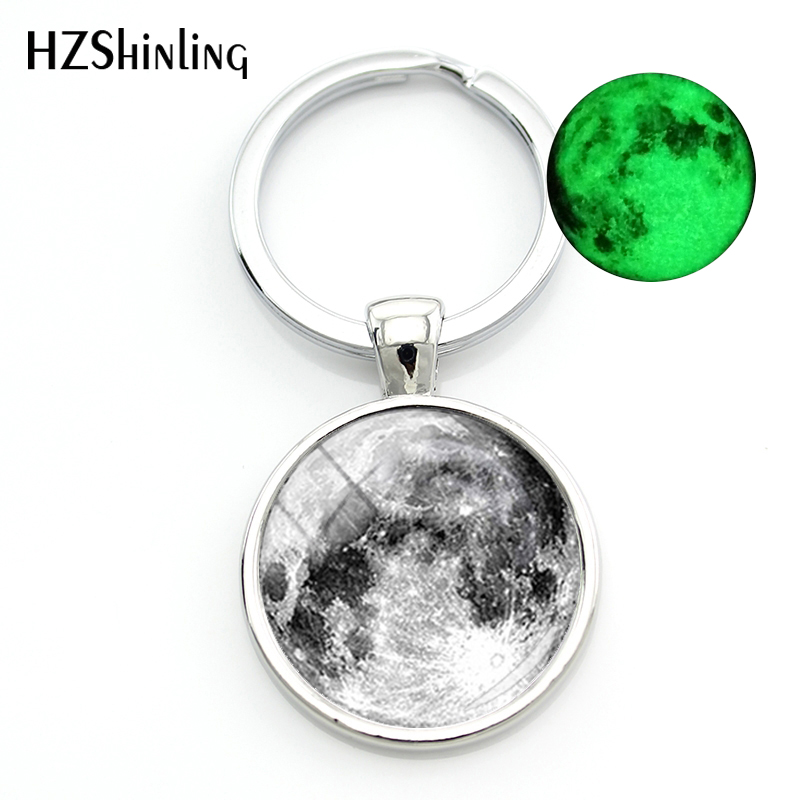 2018 Fashion Glowing In The Dark Key Chain Women Silver Full Moon Glass Cabochon Keychain Lunar Eclipse Keyrings For a Woman