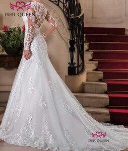 Image 2 - אירופה חדשה אופנה תפור לפי מידה ארוך שרוול אשליה תחרת רקמת בת ים חתונה שמלה 2020 טהור לבן חתונה שמלות W0149