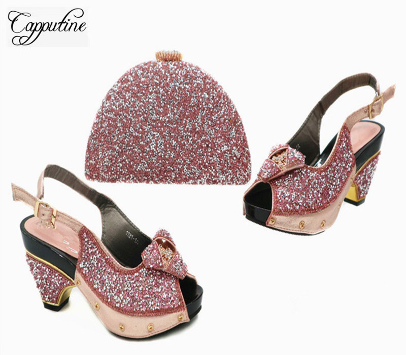 Capputine New Italian Shoes With Matching Bags Set African Rhinestone Middle Heels 4CM Shoes And Matching Bag Set For Party G43 capputine nigerian style woman yellow shoes and bag set for party african rhinestone middle heels shoes and bag set size 37 43