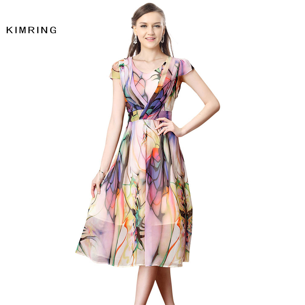 ca2f1a8b32d Kimring Vintage V Neck Dress Audrey Hepburn Women Plus Size 50s 60s  Classical Casual Ladies Taste Robe Retro Elegant Swing Dress-in Dresses  from Women s ...