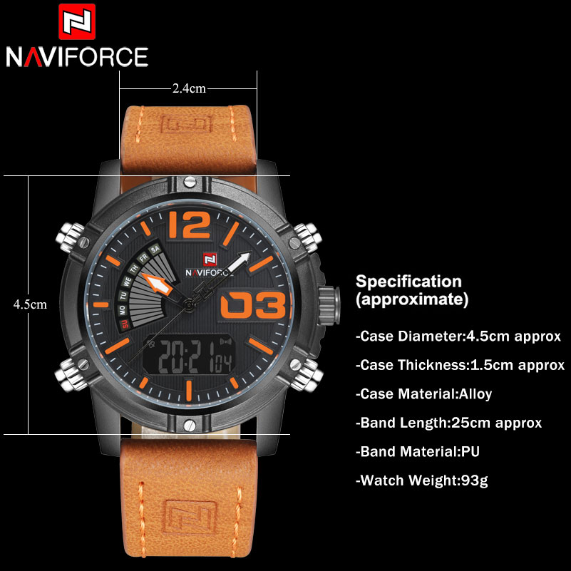 Image 4 - NAVIFORCE Brand Dual Display Watch Men Sport Quartz LED Watches Leather Band Analog Digital Wrist Watches 30M Waterproof Clock-in Quartz Watches from Watches