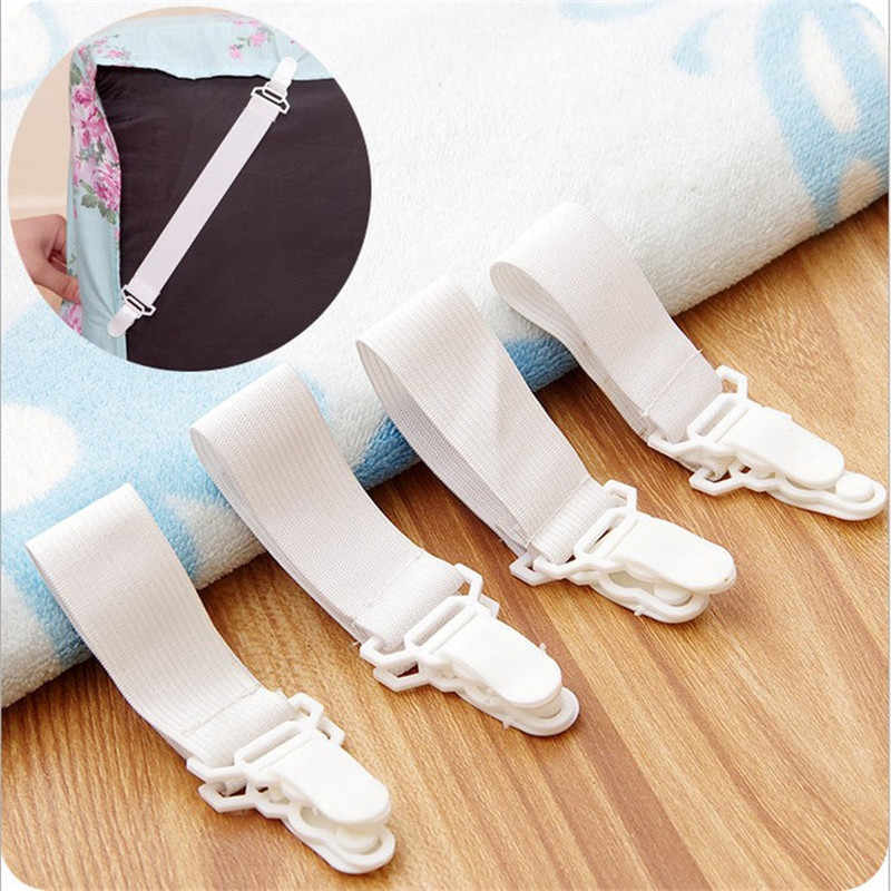4Pcs White Bed Sheet Mattress Cover Blankets Home Grippers Clip Holder Fasteners Elastic Straps Fixing Slip-Resistant Belt