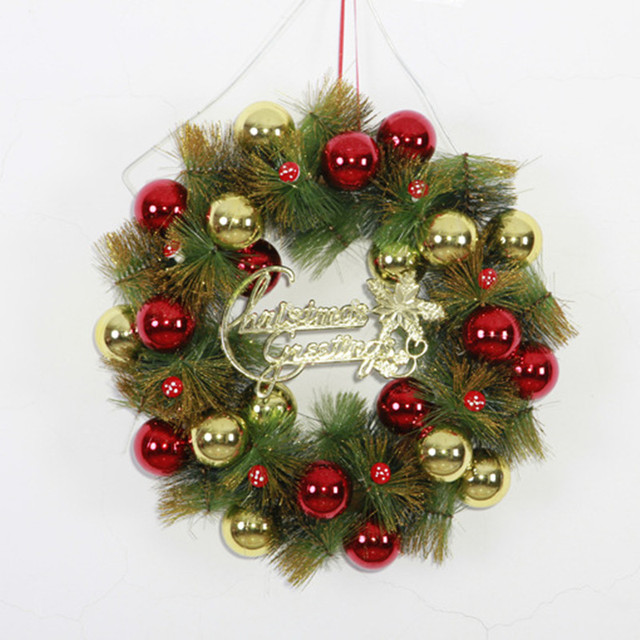 36cm wall door hanging merry christmas wreath xmas wreaths for Outdoor merry christmas ornaments