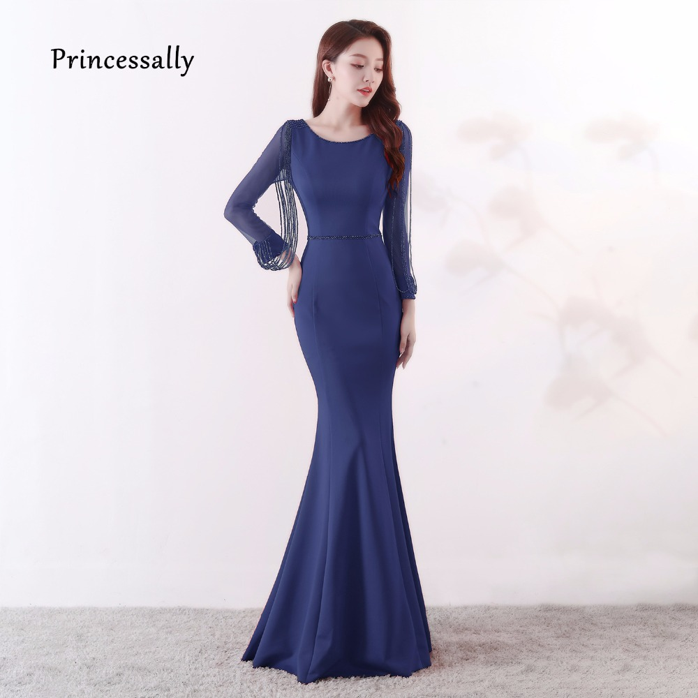 Mermaid Evening Gown Long Sleeves Beading Tassel Simple Formal Prom Dress For Women Bride Banquet Party Dress For Guests New