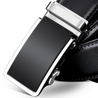Top Quality Genuine Leather Men Belt Strap Male Metal Automatic Buckle Luxury Black Simple Formal Business