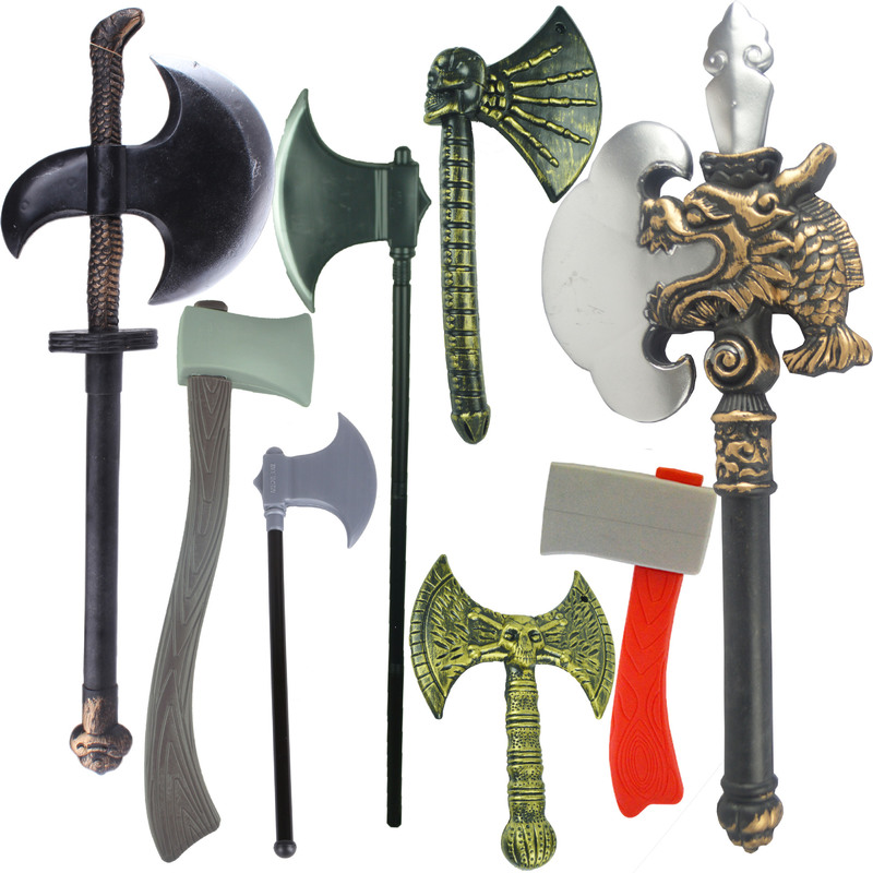Halloween Plastic Axe Prop children Toys Skeleton Skull Head axe A variety of axes to choose from image