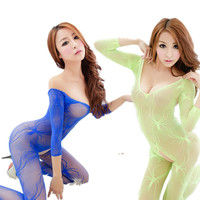 Sex free from women's Jumpsuit opening Sexy Sexy Fishnet Stockings conjoined transparent underwear hollow Fishnet Tights