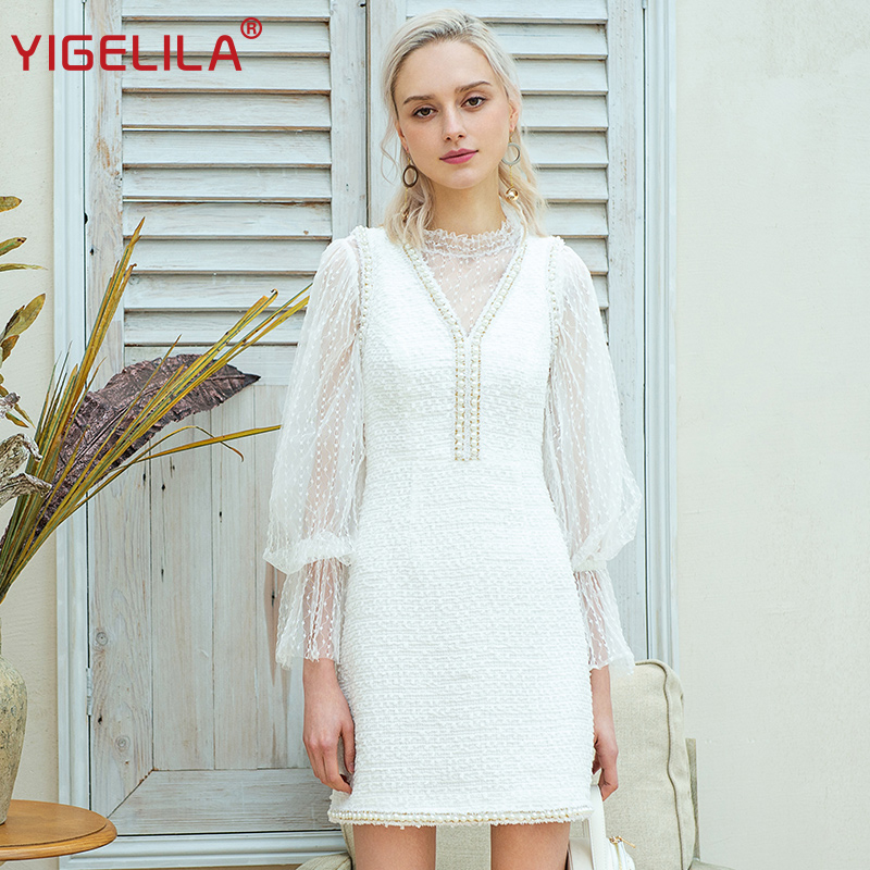 YIGELILA Early Spring Women Lace Dress Fashion Elegant Stand Neck Lantern Sleeve Package Hip Knee Length