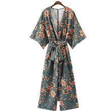 Summer Vintage Ethnic Flower Printed Kimono Jumpsuit Women 2017 New Fashion Conjoined Femme Blusa