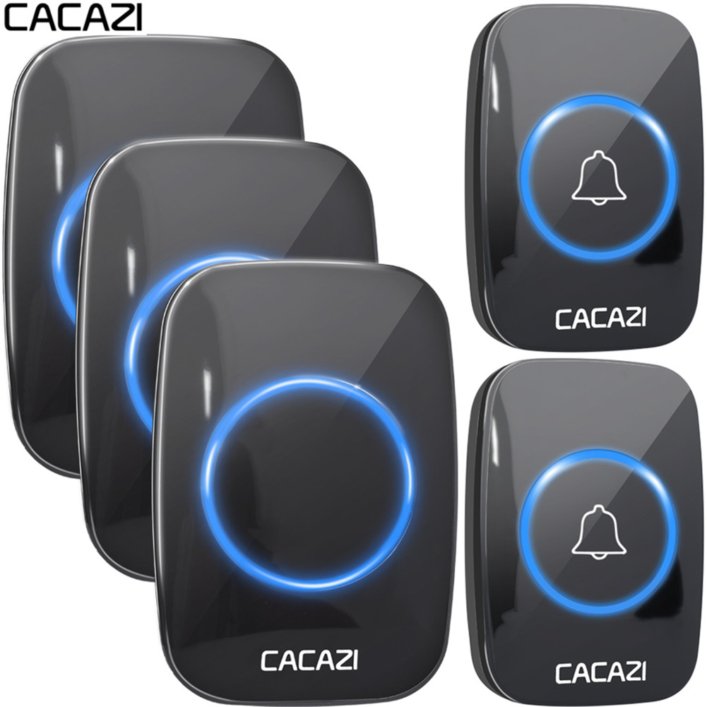 CACAZI Wireless Doorbell Waterproof 300M Remote EU AU UK US Plug Smart Door Bell Chime Battery 110V-220V 1 Button 1 2 3 Receiver