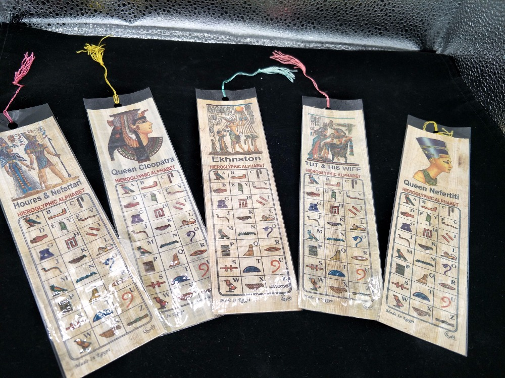Egypt Brings Back Papyrus Bookmarks The Alphabet Of Ancient Egyptian Hieroglyphics Random Delivery Of Patterns
