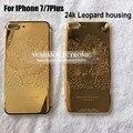 Для IPhone 7 Plus 24 К Позолоченные leopard Алюминиевый Корпус Ближний Рамка 24KT Золота 7 7 Плюс 4.7 5.5 24 К Золото Корпус Бесплатные DHL