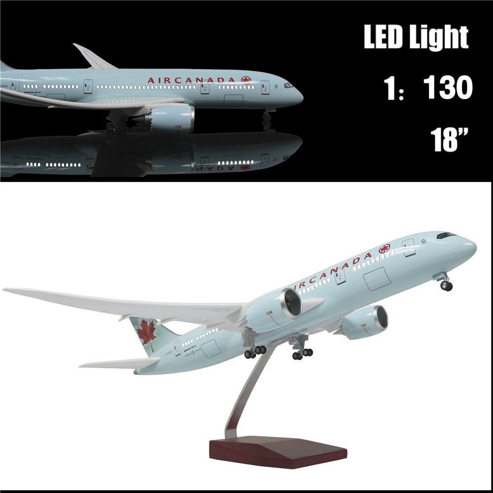 46 CM 1:130 avion moulé sous pression modèle Canada Airbus B787 avec lumière LED (commande tactile ou sonore) avion pour décoration ou cadeau
