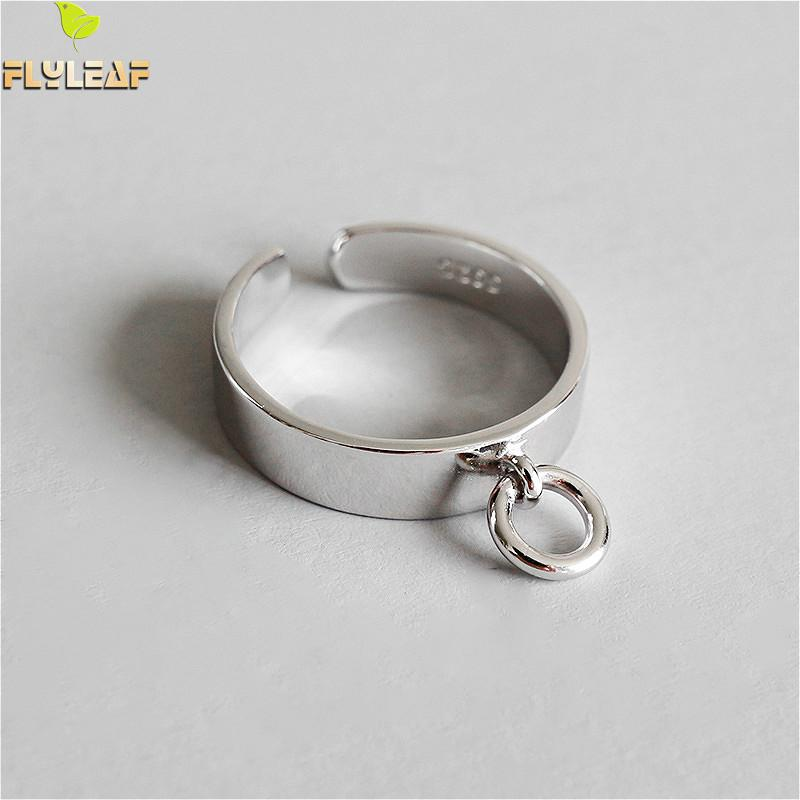 Flyleaf 925 Sterling Silver Rings For Women Glossy Hollow Small Circle Femme Fashion Fine Jewelry Simple Open Ring Ins Style