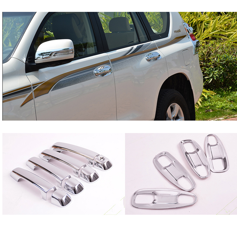 Fit for Land Cruiser for Prado <font><b>150</b></font> LC150 FJ150 Chrome Door Handle Covers Accessories Stickers Car Styling <font><b>2010</b></font> 2012 2014 2015 image