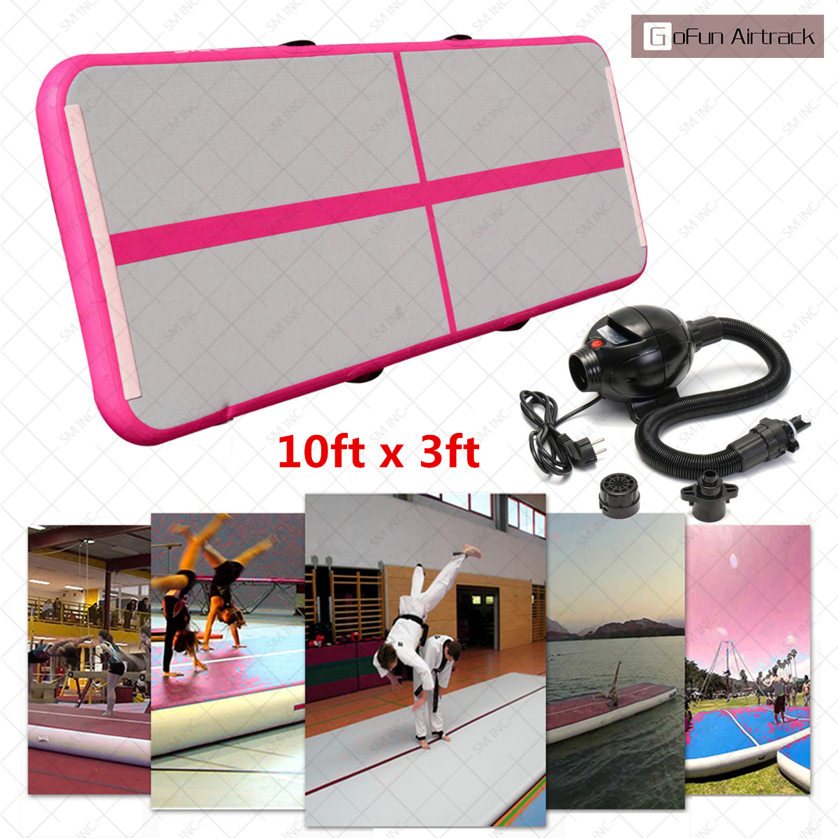 Pink Gofun AirTrack 100x300x10cm Air Mats Sport Exercise Pad Inflatable Tumbling Track Gymnastics Training Pad With Pump gofun airtrack 10ft x 3 ft air tumbling track mat gymnastics exercise pad inflatable gym training mats balance beam 110v air