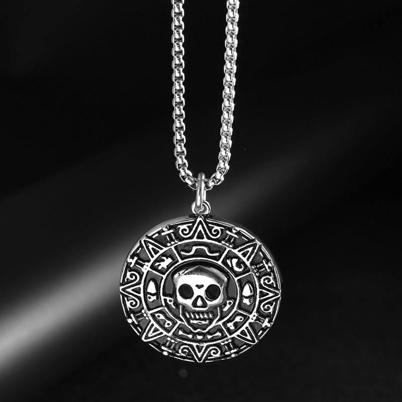 Mens Skull Round Pendant Necklace European Punk Jewelry Caribbean Pirate Aztec Antique Silver Coin Sweater Chain, Item: LP1643