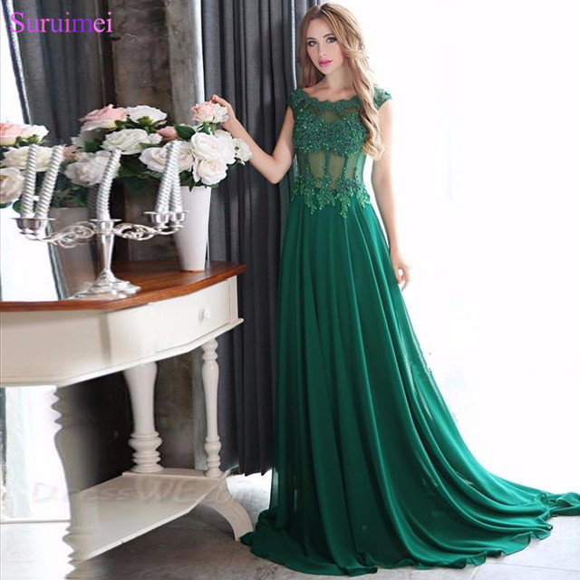 See Through High Quality Scoop A-Line Chiffon Emerald Green Cap Sleeve Prom  Dresses 2018 Vestido De Noiva 819dab5d9f28