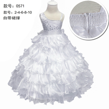 Free Shipping  Ankle Length children Dress cheap Price Pure White Flower Girl Dresses For Weddings One Should Kids Evening Gowns