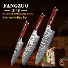 FANGZUO 3PCS Pro Kitchen Knife Sets Japanese forged Damascus Steel Chef Santoku Knives Stainless Slicing Utility
