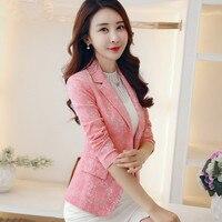 POENFLY Autum female outerwear Fashion Women Blazer jacquard suit Jacket Slim One button Long sleeve Women coat