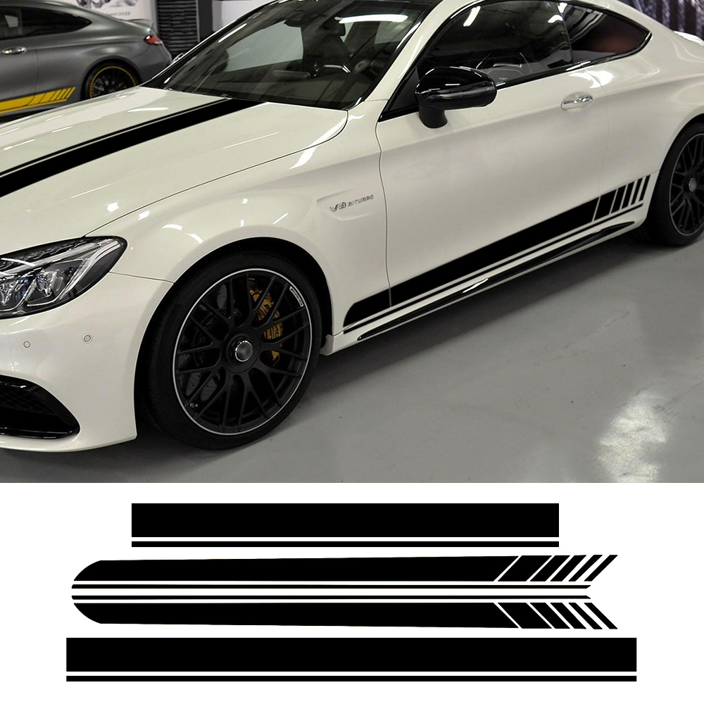 Hood /& Roof Skirt Racing Stripe For Car Vinyl Whole Body Graphic Decal Sticker