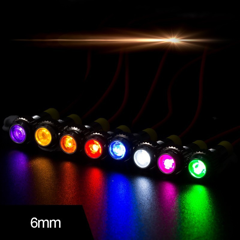 6MM LED Waterproof Metal Indicator Small Line Power Supply Working Indicator  3v 5v 6v 12v  24v 36v 48v 110v 220v With 8 Color