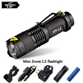Mini Zoom lanterna Led flashlight Torch CREE XML T6 L2 Led rechargeable Flashlight 2800 Lumens Use 18650 rechargeable battery