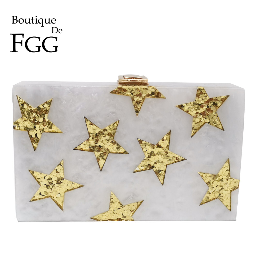 Boutique De FGG Glitter Stars Women Acrylic Box Clutch Evening Bags Hard Case Ladies Fashion Party Day Clutches Handbag Purse