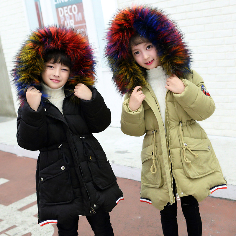FYH Kids Down Jacket Winter Children Solid Color Parka School Child Clothes Fur Hooded Outerwear Girls Boys Snow wear -30 degree 2017 new fashion girls winter warm coat kids jacket hooded snow wear cotton down outerwear girl solid color winter clothes