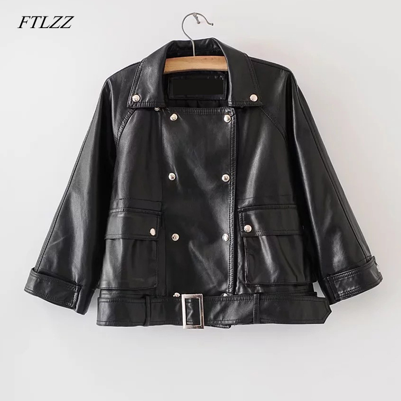 FTLZZ 2019 New Pu   Leather   Jacket Spring Autumn Women Rivet With Belt Slim Motorcycle Jackets Faux Soft   Leather   Short Outerwear