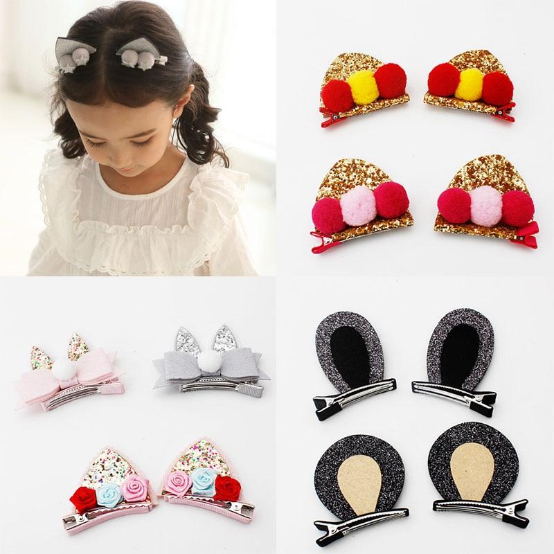 Fashion Hair Clip Girls Children   Headwear   Gift 3D Cat Ears Hot New Hairpin 1Pair Cute Kids Hair Accessories